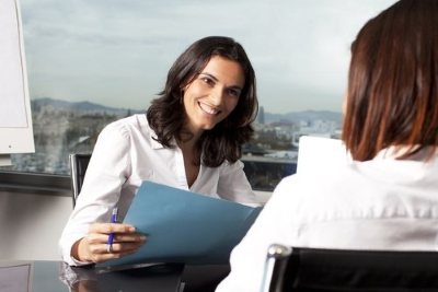 two female sales executive recruiters meeting